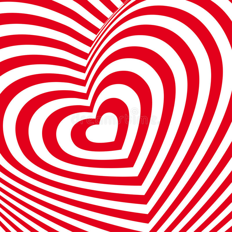 Red heart Valentines day card. Three-dimensional volumetric image. Vector royalty free illustration
