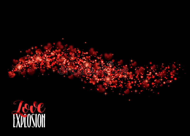 Red Heart. Valentines Day Vector Background With Sparkles. And Glitters. Holiday Design. Valentines Day. Vector Illustration Abstract stock illustration