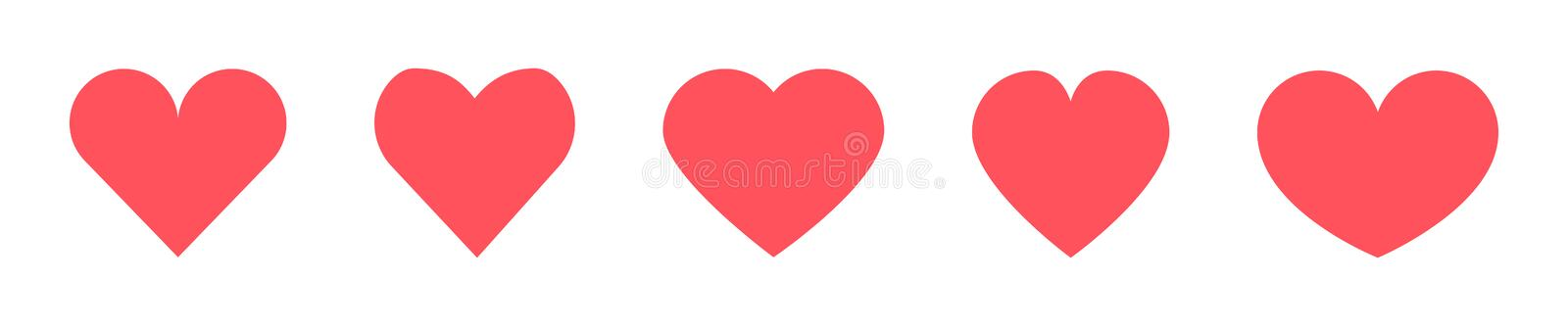 Red Heart vector icons set on blanck background. Hearts icon stock illustration