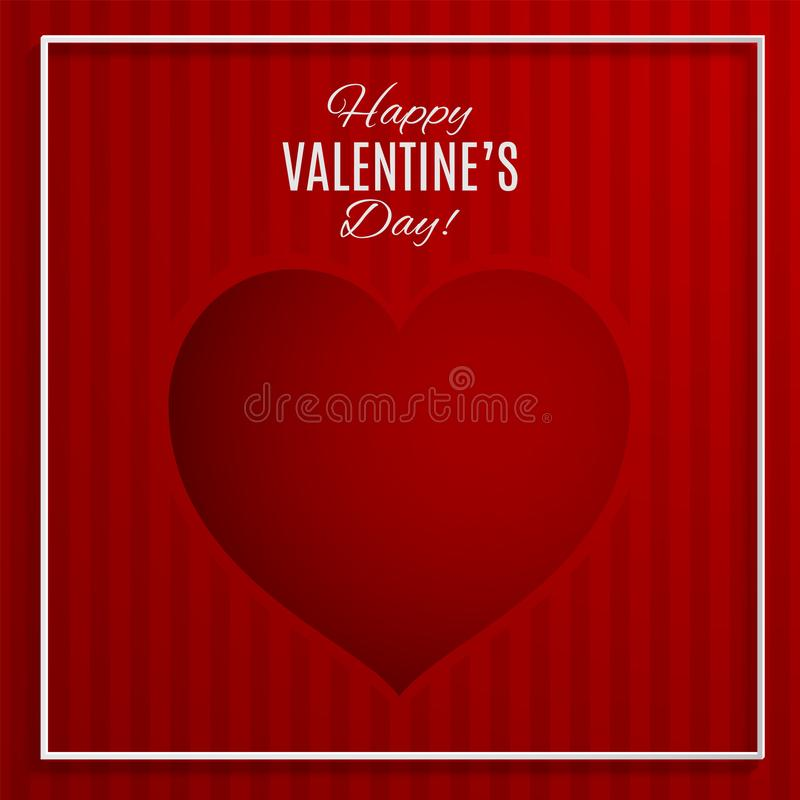 Red heart vector illustration on red striped background with frame for valentines day greeting card, paper cut stock illustration