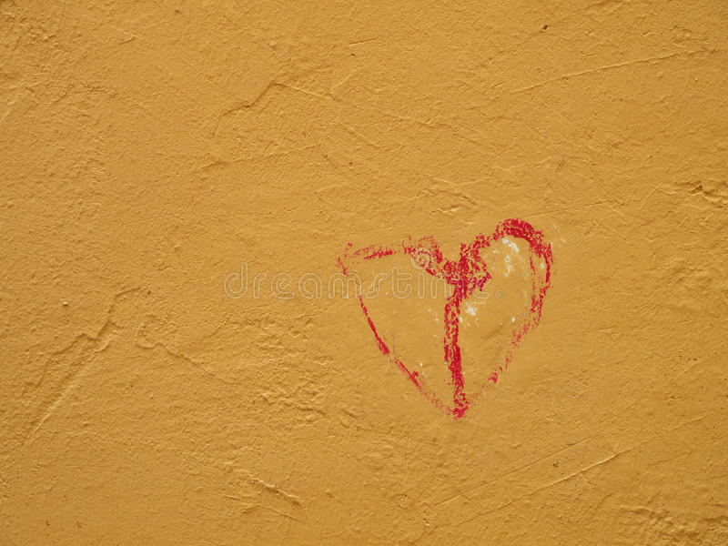 Red heart on a wall royalty free stock photo