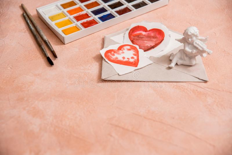 Red heart, watercolor or paint, pink Valentine. On a pink coral background stock photo