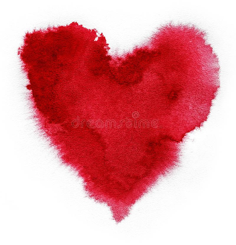 Red heart. Watercolor in shape of heart. Red spot on watercolor paper. Heart red spot on white background. Ink drop. royalty free stock photo