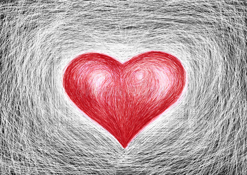 red heart, white background stock photo