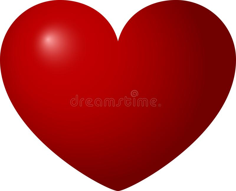 Red heart on a white background, Valentines day, vector illustration royalty free stock photography