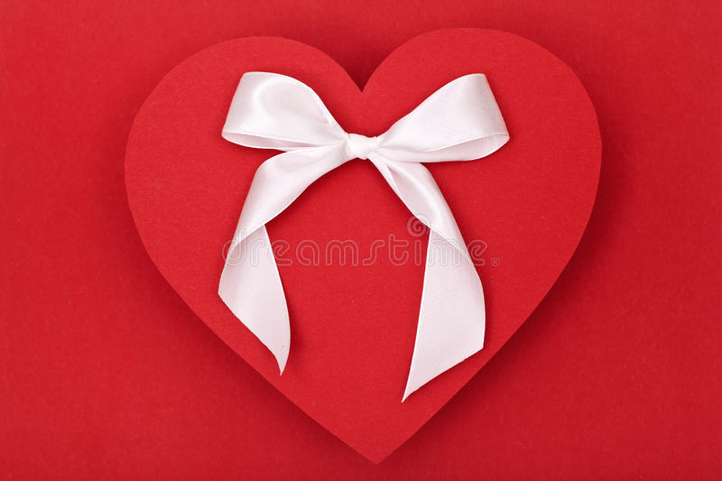 Download Red heart and white bow stock image. Image of decorative - 28690077