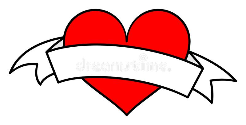 Red heart with white ribbon clipart. Vector illustration stock illustration