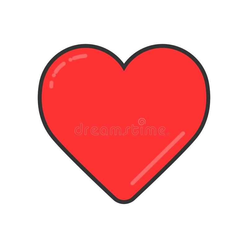 Red Heart on white vector icon. Love symbol. Valentine day concept stock illustration