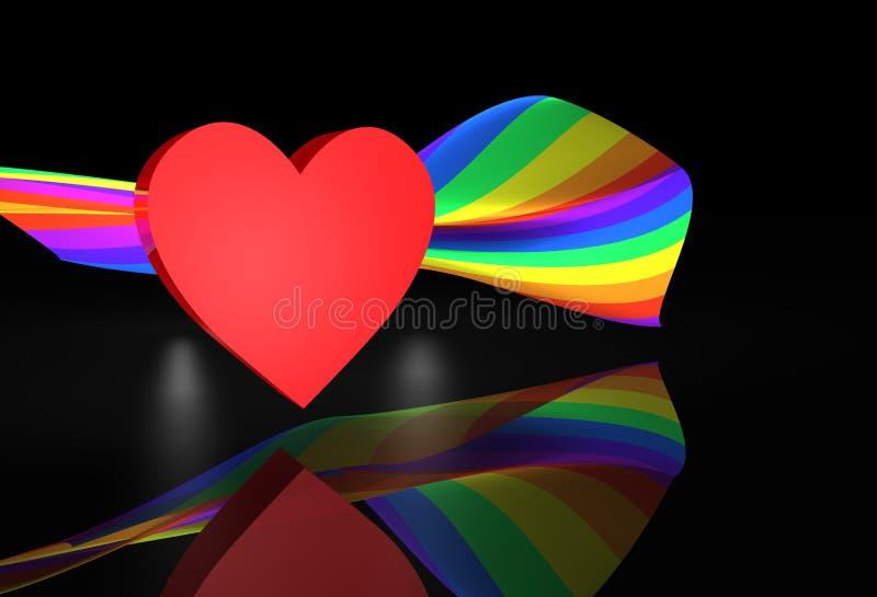 Red Heart Wiith Rainbow Flag
