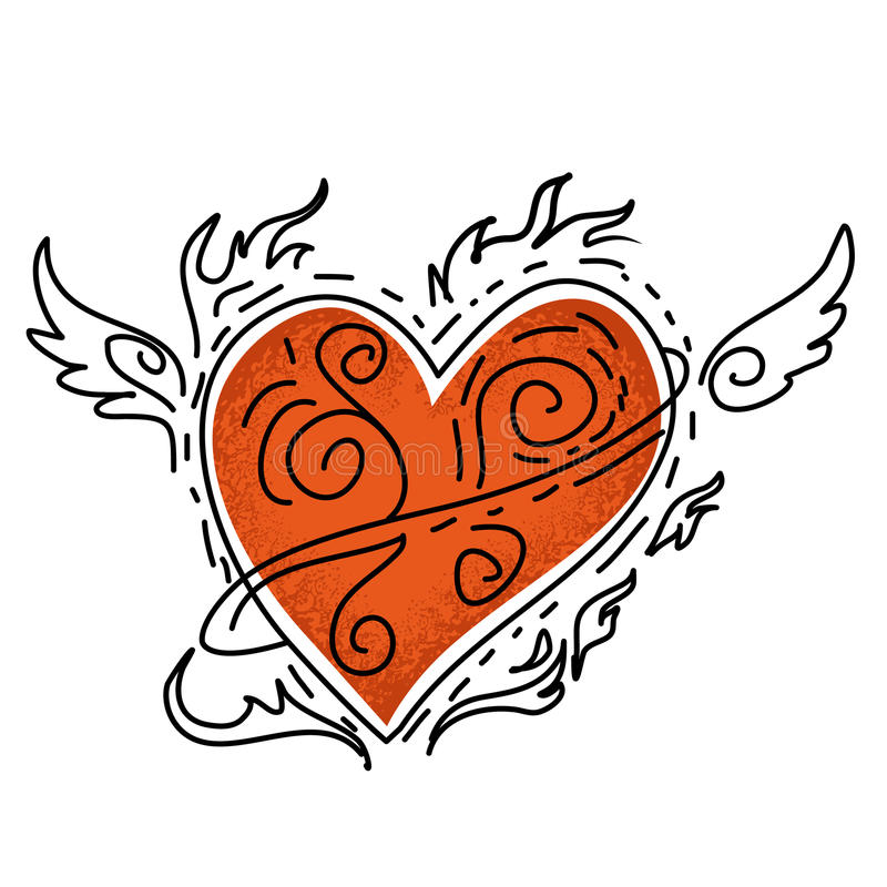 Red heart with wing royalty free illustration