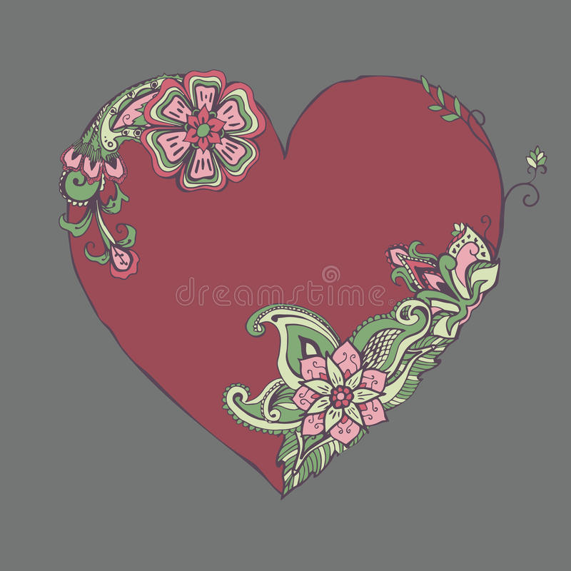 Free Red Heart With Fancy Floral Ornament Royalty Free Stock Photos - 42737528