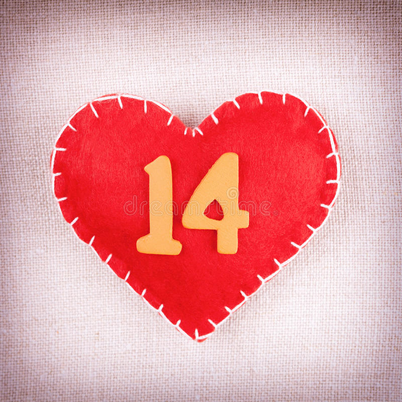 Free Red Heart With Wooden Numbers 14 Stock Photo - 28512650