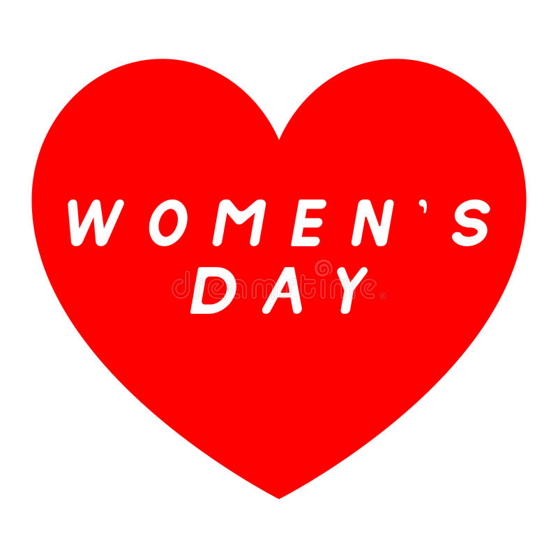 Red heart for womens day with white fill caption. Red heart for womens day with white fill caption - icon vector illustration