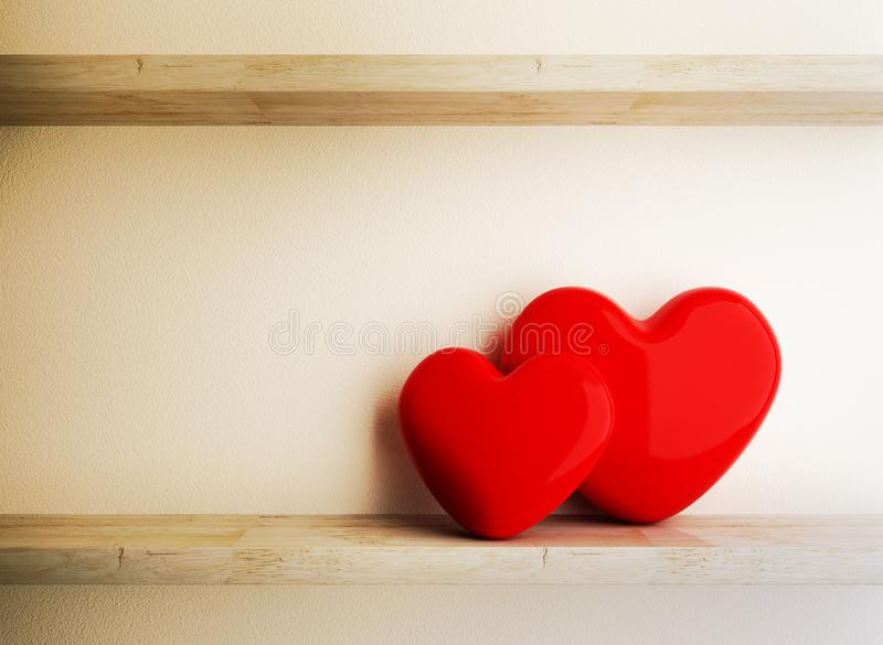 Red Heart on Wood Shelf, Love Conception stock images