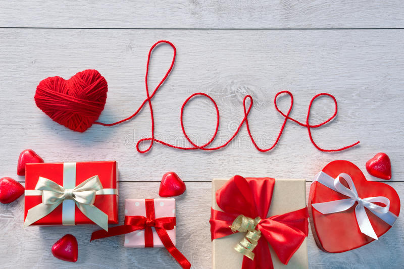 Red heart, Word Love and Valentines Day gifts royalty free stock images