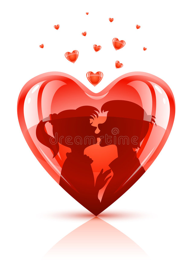 Red heart with young teens couple kissing. Vector illustration vector illustration