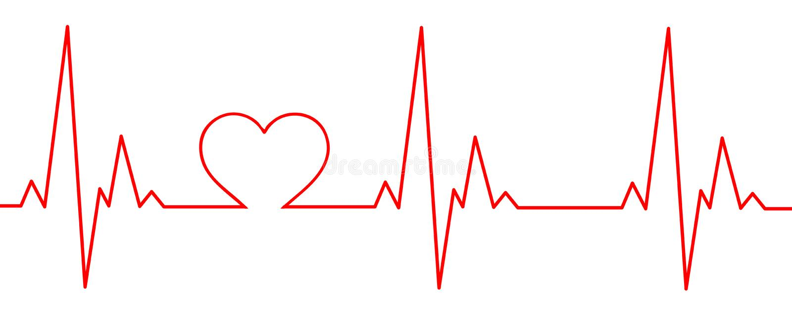 A red heartbeat with a heart in the graph. A Heartbeat graph with an integrated heart. A cardiogram showing love by incorporating a heart in the graph stock illustration