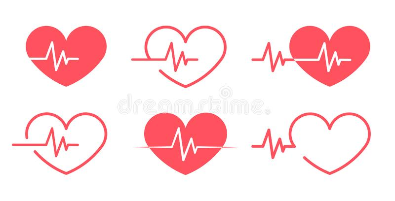 Red heartbeat Icons different 6 styles vector illustration