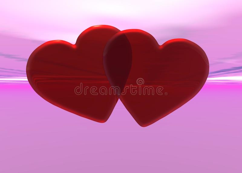 Red Hearts. Over pink background vector illustration