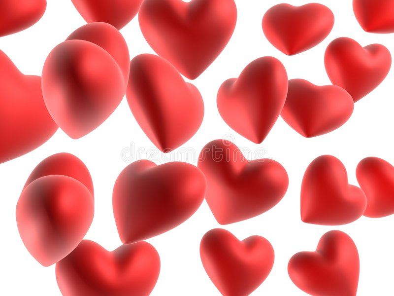 Red hearts. 3d rendered illustration of red hearts royalty free illustration