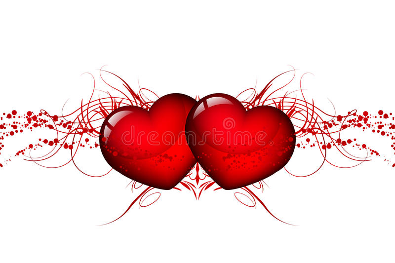 Red hearts. Vector illustration of two red hearts stock illustration