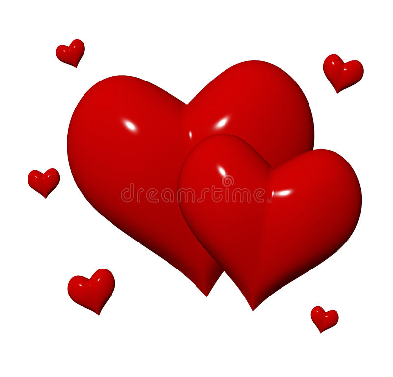 Free Red Hearts 3d Stock Photography - 23141122