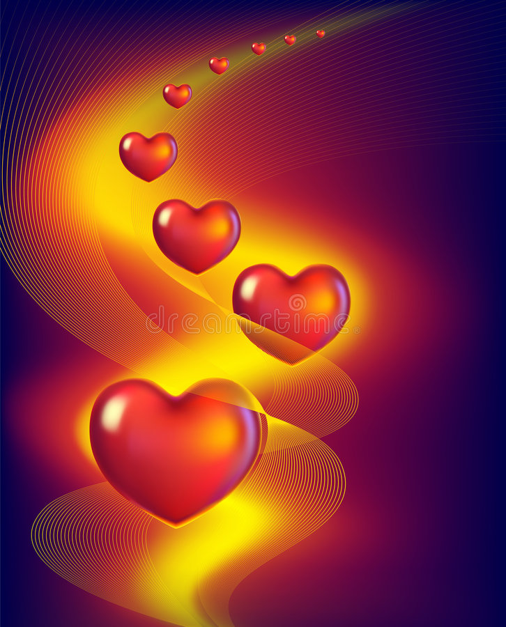 Red hearts. Abstract background with red hearts royalty free illustration