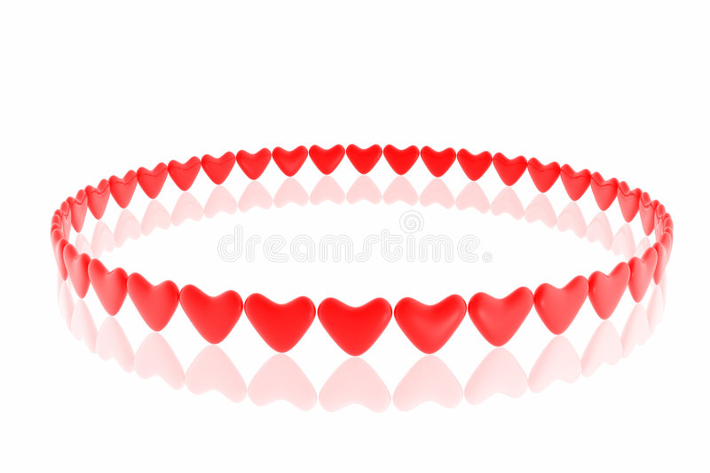 Red hearts. Isolated in white background stock illustration