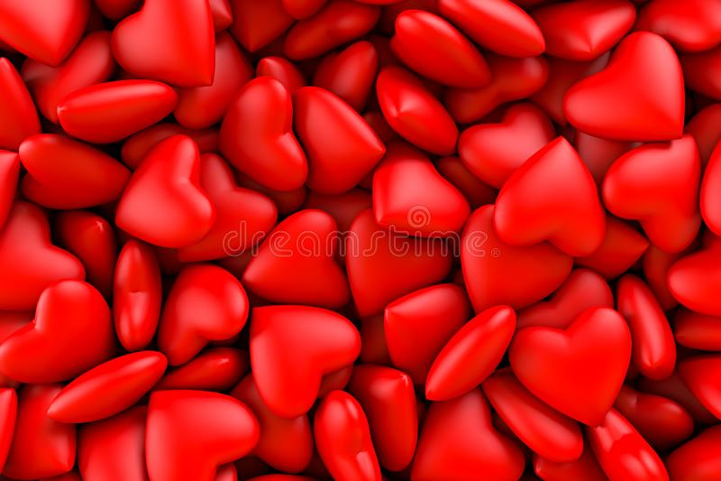 Red hearts. Background texture of hearts. Valentine`s Day. 3D rendering illustration royalty free stock photo
