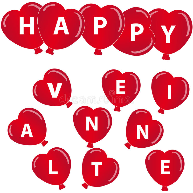Download Red Hearts Balloon With Text On White Background Stock Vector - Image: 83721062