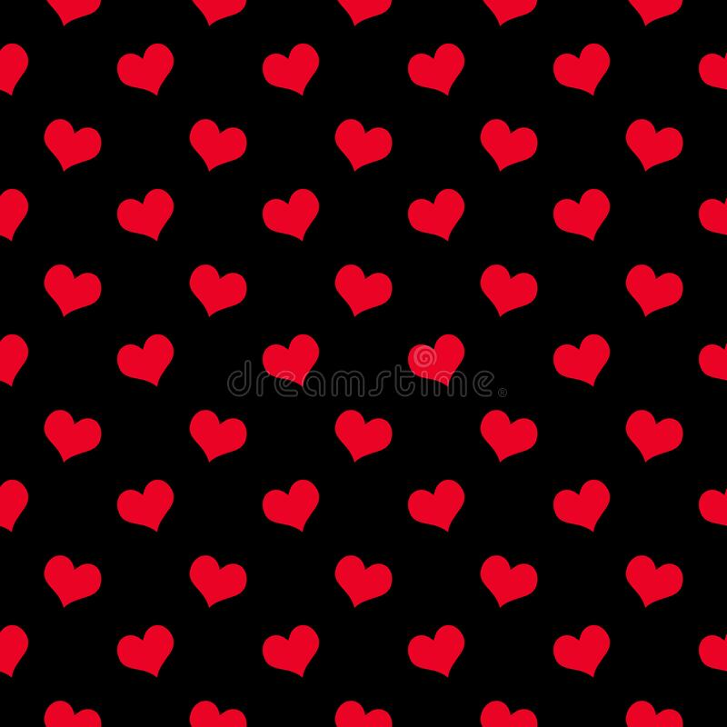 Red hearts on a black background seamless pattern. Packaging design for gift wrap. Holiday Valentine`s day. Vector vector illustration