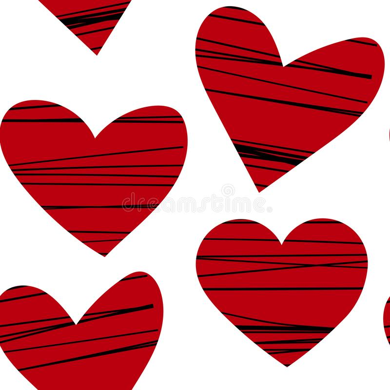Red hearts with black stripes seamless vector pattern.Valentines day background, romantic design royalty free illustration