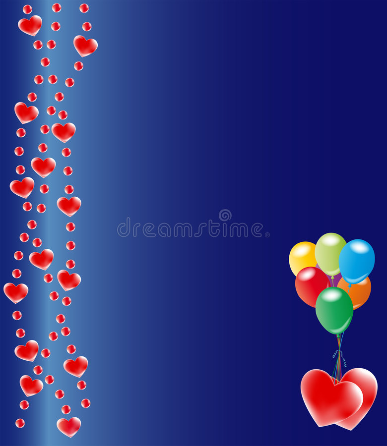 Red hearts on blue background