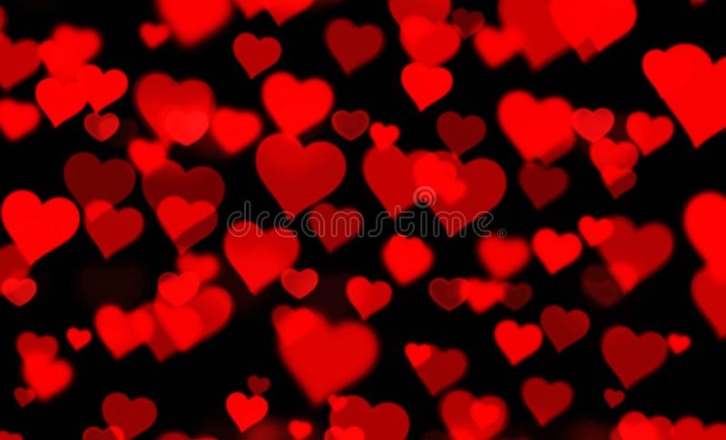 Red hearts bokeh blur background. Illustration. Red hearts bokeh blur background illustration love romantic new shape wallpaper backdrop colors card greeting royalty free stock image