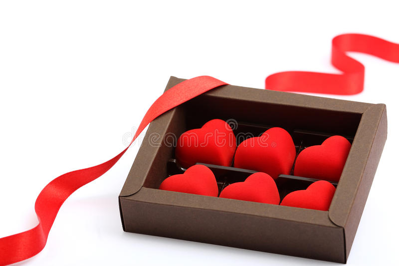 Red hearts in brown box stock photo