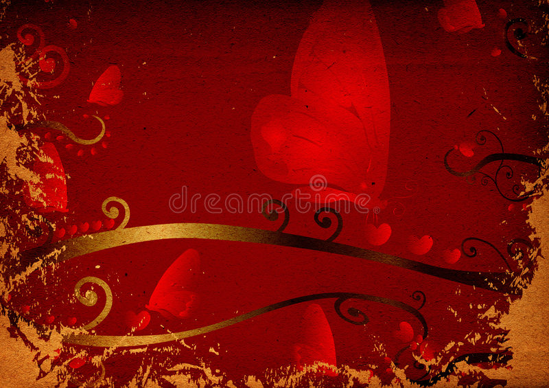 Download Red hearts and butterflies stock illustration. Image of leaves - 1926670
