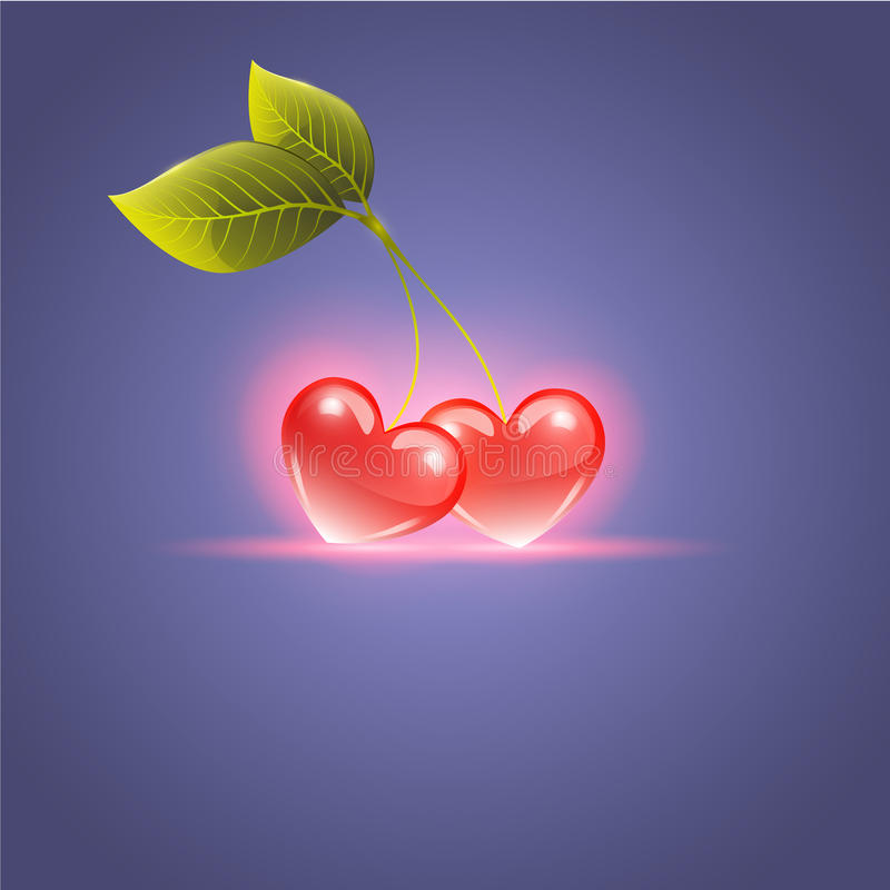 Red hearts and cherry leaf. Vector royalty free illustration