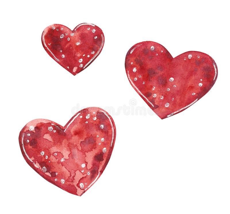 Red hearts clipart set, watercolor illustration vector illustration