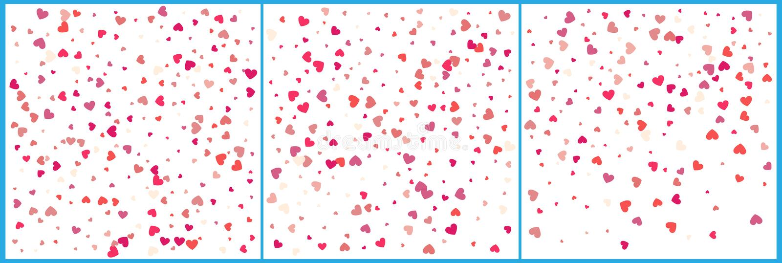 Red hearts confetti celebrations. Simple festive modern design. Holiday vector. Set 3 in 1.  vector illustration
