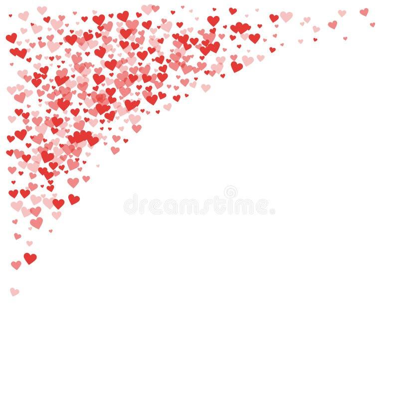 Red hearts confetti. Top left corner on white valentine background. Vector illustration vector illustration