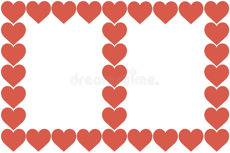 Red Hearts Design on White Background. Love, Heart, Valentine`s Day. Can be used for Articles, Printing, Illustration purpose, royalty free illustration