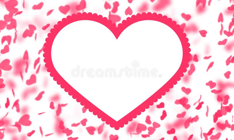 Red hearts drop, white background, Valentine, greeting card, love, romance, frame , blurred, beautiful, bright , wedding, design. Fine art  background  lovely vector illustration