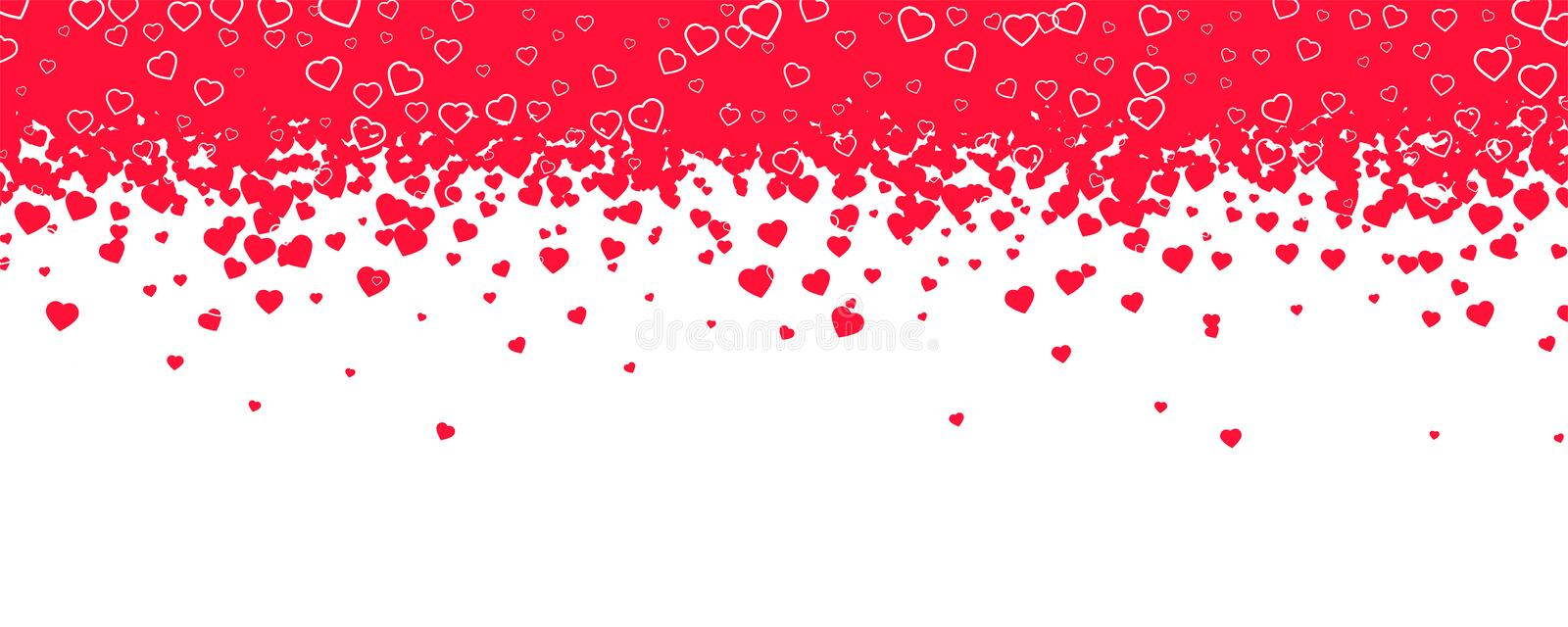 Red hearts are falling down like snowfall or rain. Decoration for holidays of holy Valentines, Womens and Mothers days vector illustration