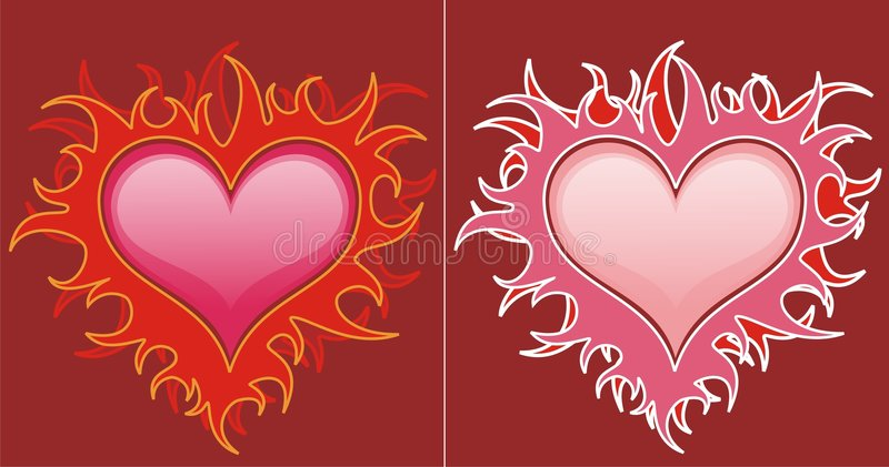 Download Red hearts in flames stock illustration. Image of drawing - 6181675