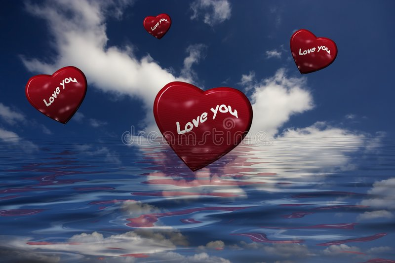 Download Red Hearts Flying In The Sky Royalty Free Stock Photo - Image: 4392445