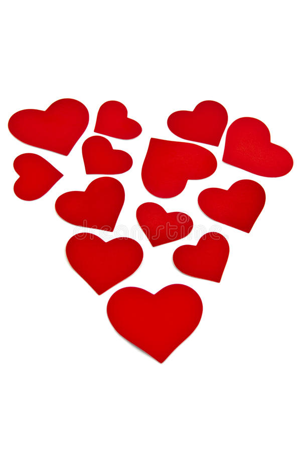 Red hearts forming a heart royalty free stock photos