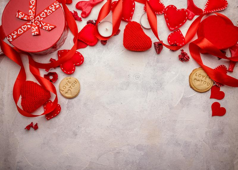 Red hearts, gifts and candles stock photography