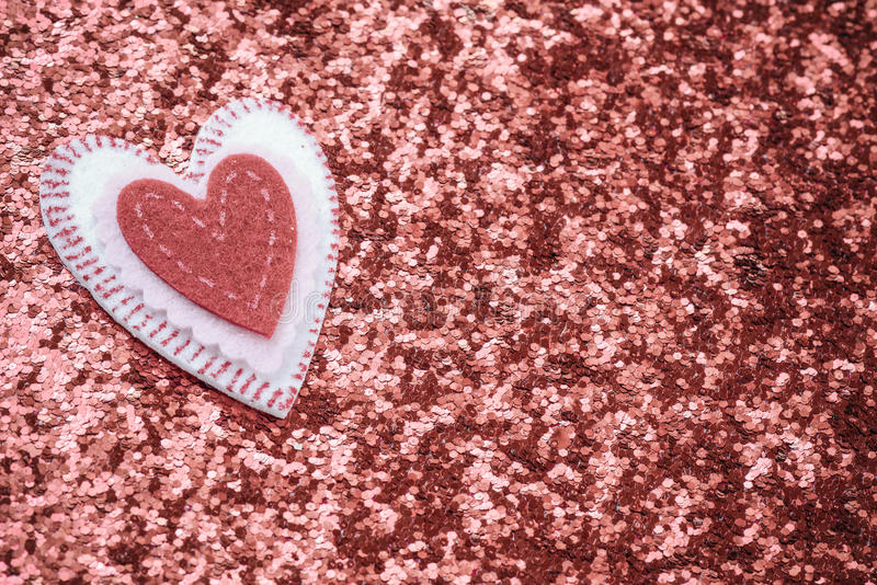 Red Hearts with Glitter Background stock images