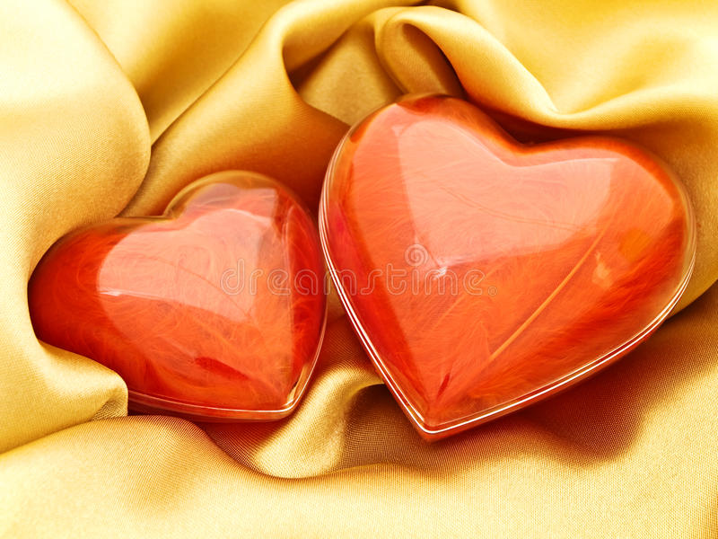 Download Red hearts at gold stock image. Image of cloth, holiday - 11526657