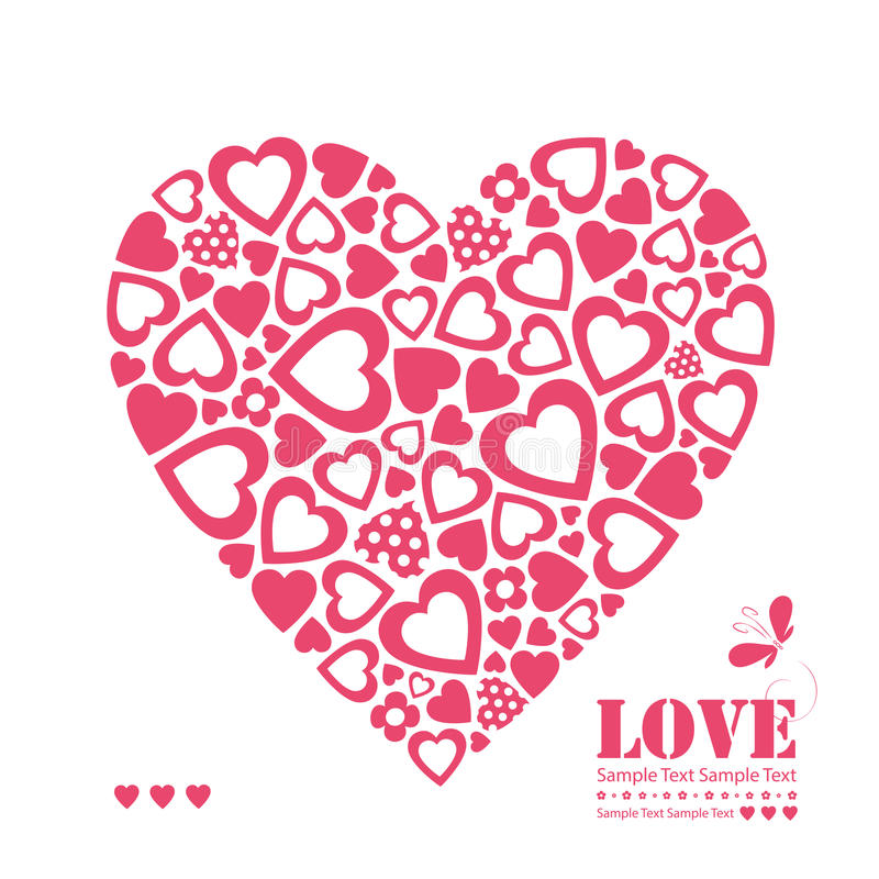 Red hearts greeting card. Red and polka dot hearts greeting card on white background vector illustration